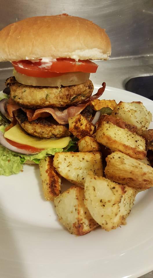 Pork and Apple Burger and Roasted Veges