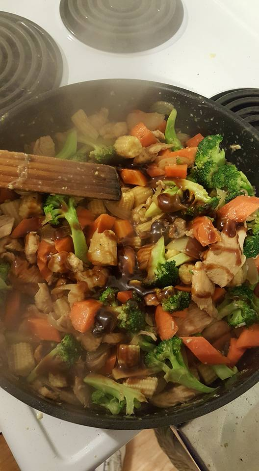 Stirfry add finishing sauce